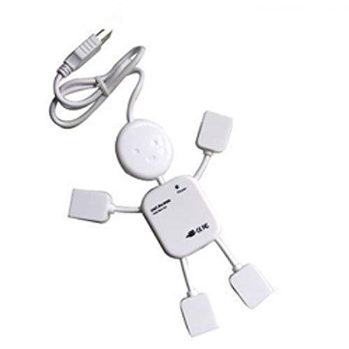 High Speed 4 Ports USB 2.0 Hub White Mini Man USB HUB