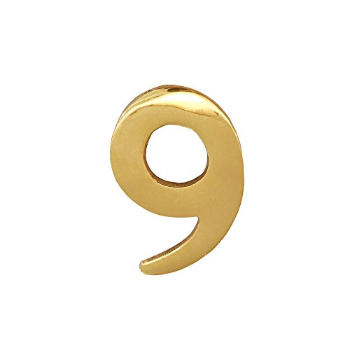 Addresses of Distinction 2-Inch Brass Mailbox Number 9 - Self Adhesive Floating #9 - Williamsburg Font - Won't Tarnish - Weather Resistant - Numbering for Address Plaque, Home, Door, Business