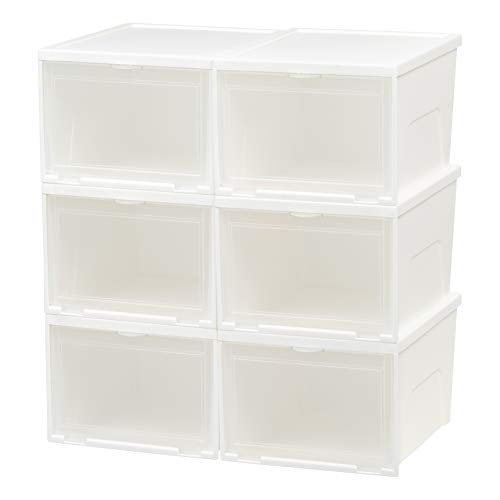 IRIS USA NSSB-H Front Entry Stacking Shoe Box, Tall, White, 6 ()