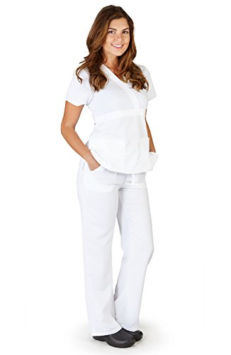 - Ultra Soft Brand Scrubs - Premium Womens Junior Fit 3 Pocket Mock Wrap Scrub Set, White 38930-X-Small