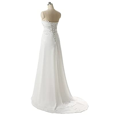 SZWT Nitree Sweetheart Chiffon Long Beach Wedding Dress Bridal Gown Bride Marry Party at Women's Clothing store