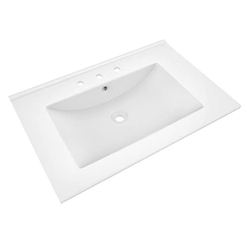 chic American Imaginations 385 24-Inch by 18-Inch White Ceramic Top with 8-Inch Centers