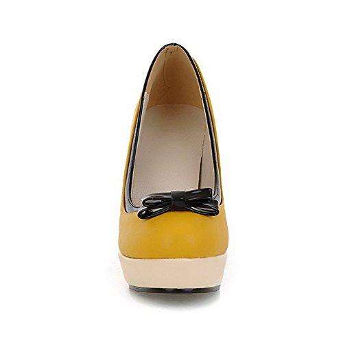 BalaMasa da donna slip-on high-heels solido morbido materiale pumps-shoes, Giallo (Yellow), 35
