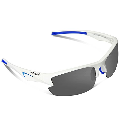 Polarized Sports Sunglasses for Men Women Cycling Fishing Outdoor Driving Golf Baseball Glasses TR Unbreakable (White-Gray)