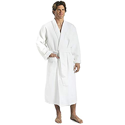 Monarch/Cypress Terry Lined Waffle Spa Robe - Hotel Bathrobe in White