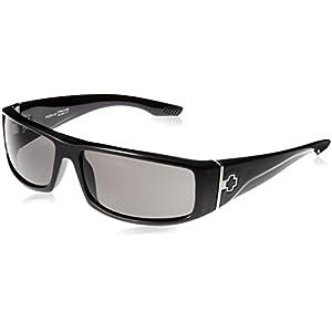 Spy Optic Cooper Polarized Wrap Sunglasses, Shiny Black Frame/Grey Lens, One Size