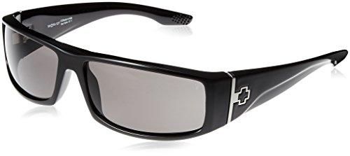 Spy Optic Cooper Polarized Wrap Sunglasses, Shiny Black Frame/Grey Lens, One - Spy Sunglasses Polarized