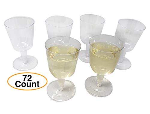 Premium Disposable Wine Glasses/Cups (72 Pack) Clear Plastic 6.4 oz Elegant and classy for party]()