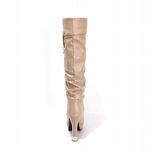 Carolbar Donna Moda Bling Bling Strass Eleganza Piattaforma Alta Stivali Tacco Grosso Vestito Albicocca