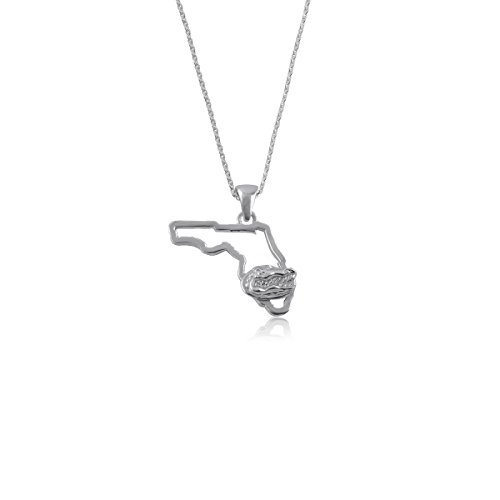 University of Florida Gators UF Sterling Silver Jewelry by Dayna Designs (State Outline Necklace)