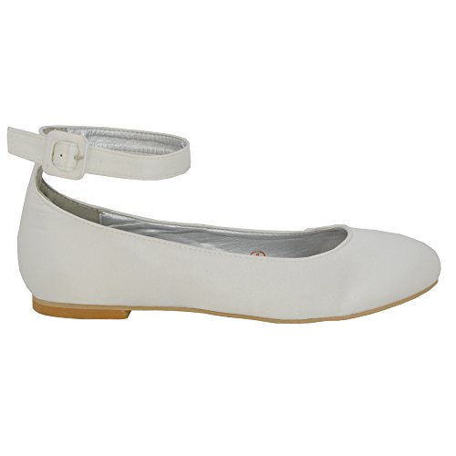 ESSEX Sposa Sintetico Caviglia Donna Ballerina Bianco Tacco Piatto Satinato Cinturino GLAM Scarpa w6gOqwRr