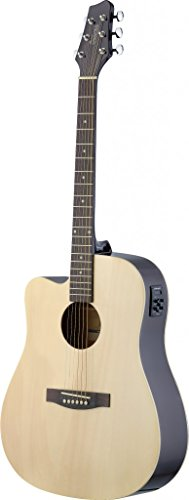 (Stagg SA30DCE-N LH Left Handed Dreadnought Cutaway Acoustic-Electric Guitar - Natural)
