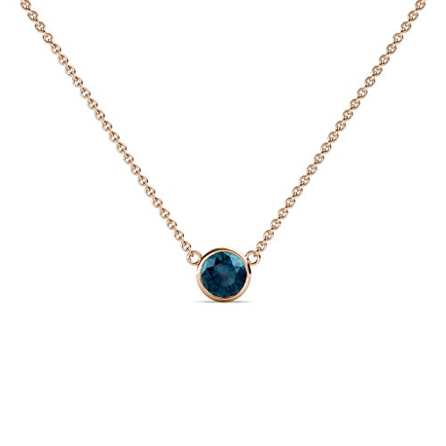 TriJewels Round Blue Diamond 0.33 ct Bezel Set 4.4mm Womens Solitaire Pendant Necklace 14K Rose Gold with 16 Inches Gold Chain ()
