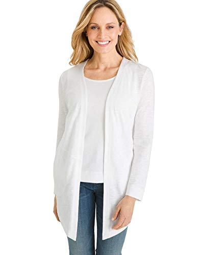 Chico's Women's Cotton Slub Cardigan Size 12/14 L (2) White