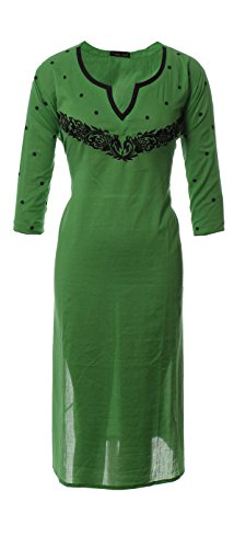 AzraJamil-Scintillating-Green-Cotton-Embroidered-Kurta-Green