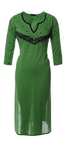 AzraJamil-Scintillating-Green-Cotton-Embroidered-Kurta-Green