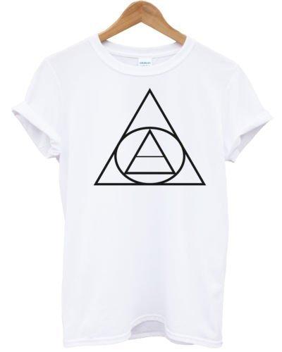 Cercle triangle T pour femme T-shirt d'été Apparel Man femmes Shop Indie Hipster soleil -  blanc - Medium