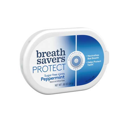 BREATH SAVERS PROTECT Mints in Peppermint Flavor.88 Oz (Pack of 12) by Breath Savers