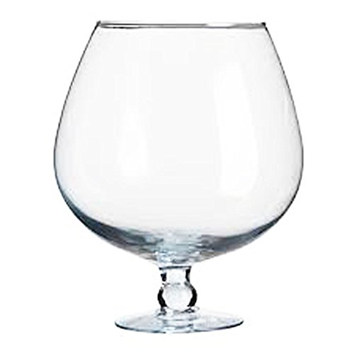 Giant Snifter, Ball Vase Large of Clear Glass with Foot Table Decoration Height 24 Cm Volume 4,7 Litre Oberstdorfer Glashütte