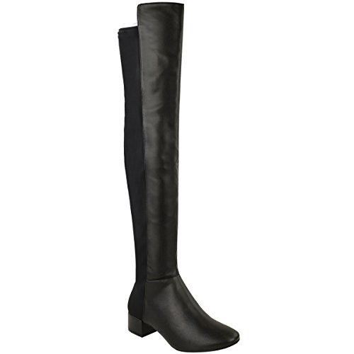 Fashion Thirsty Womens Over The Knee Riding Flat Boots Calf Stretch Thigh High Size Black Faux Leather op19sD