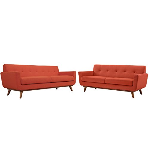 Modway Engage Mid-Century Modern Upholstered Fabric Sofa