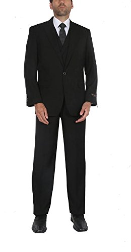 P&L Men's 3-Piece Suit Classic Fit one Button Blazer Jacket Tux Vest & Pleated Pants Set