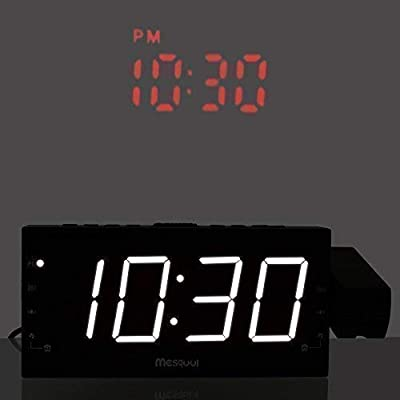 """Mesqool Projection Alarm Clock for Bedrooms - AM FM Radio,180° Projector, 7"""" Large LED Display & Dimmer, Dual Alarms, USB Charger Port,Battery Backup Desk Wall Ceiling Travel Clock for Kids, Elders"""