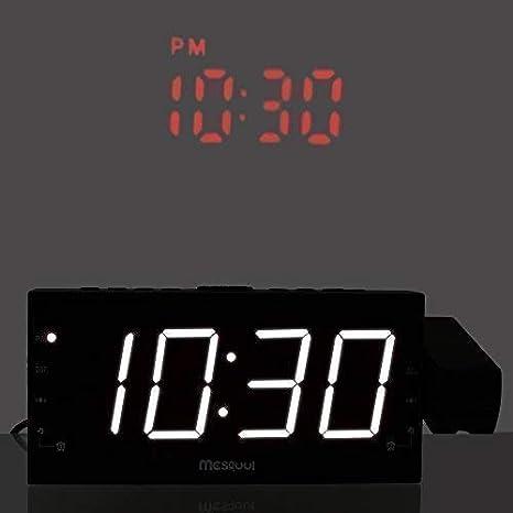 Mesqool Projection Alarm Clock for Bedroom - AM FM Radio & Sleep Timer, 180° Projector, 7