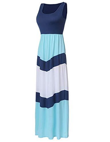 - Demetory Women`s Chevron Zig Zag Striped Tank Top Maxi Dress (Large, 1214 Navy)
