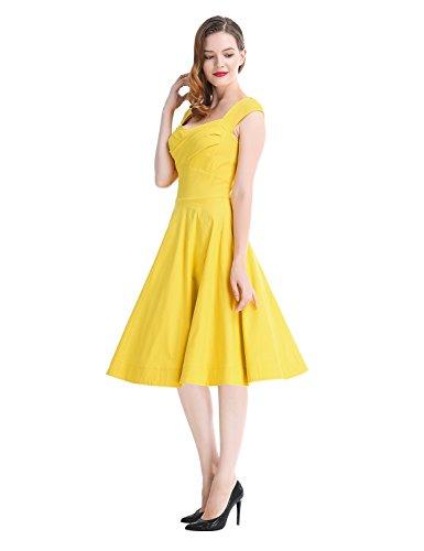 Robe Annes Style Cocktail Robe de Yellow Vintage 1950 Soire Rtro Robe De Robe MUXXN Robe Audrey Hepburn De Femme de 6B8q5Ow