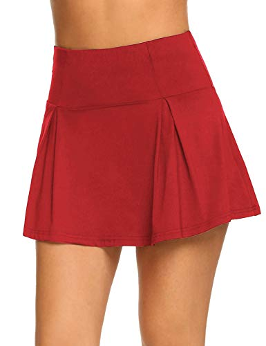 (Guteer Women's Active Skort Casual Pleated Skirt for Running Tennis Golf Workout Red)
