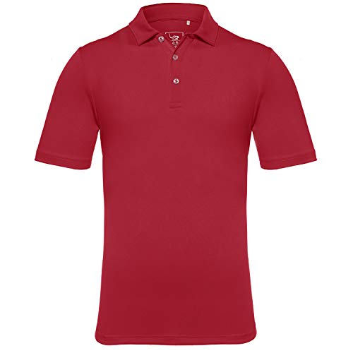 (EAGEGOF Men's Regular Fit Golf Polo Shirt Short Sleeve Stretch Quick Dry Performance Polo(Dark Red, XL))