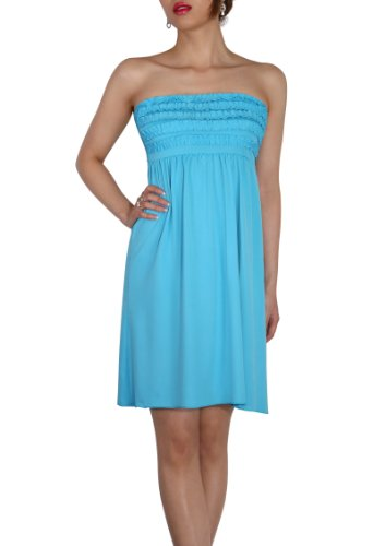SodaCoda Women's Beach Strapless Summer Dress knee lenght - One size - Turquoise -