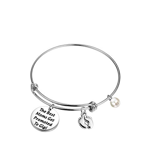 FEELMEM New Grandma Gift The Best Moms Get Promoted to Grandma Bangle Bracelet with Baby Footprint Charm (Gigi)