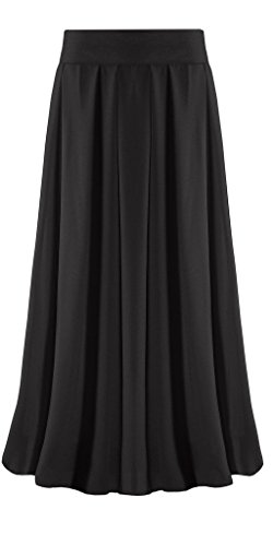 Ashir Aley Woman's Boho Pleated Long Chiffon Maxi Skirt (M,Petite Black)