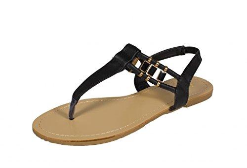 Qupid Women's Archer-01 T-Strap Slingback Flat Sandal with Side Gold Décor, black leatherette, 8.5 M (Girls Black Hazel Shoes)