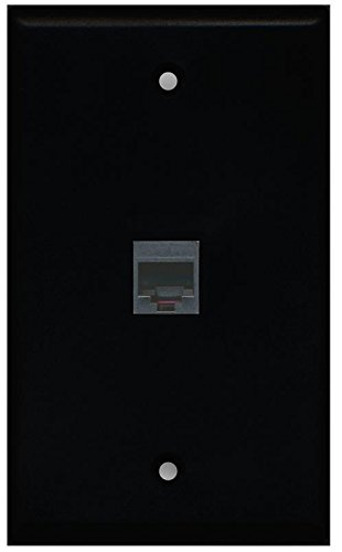 RiteAV Rj11/12 Phone Black Wall Plate 1 Gang Flat Black ()