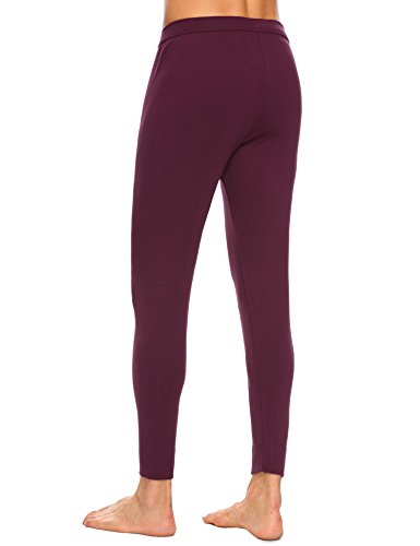 Langle Men's Long Sleepwear Soft Cotton Elastic Waist Pajamas Set (Dark Red, XXL) by Langle (Image #3)