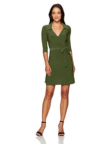 Star Vixen Women's Petite 3/4 Sleeve Faux Wrap Dress with Collar, Olive Solid, PM
