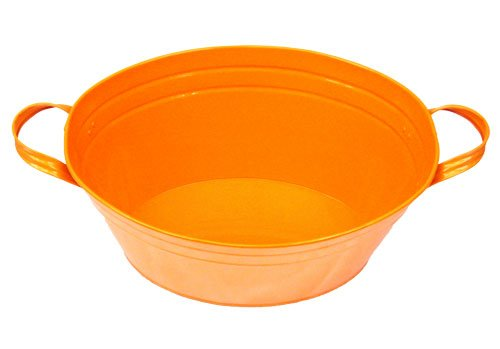 "Kraft Klub, Inc. Orange Enamel Oval Beverage Tub - 19"" x 12"" x 7"""