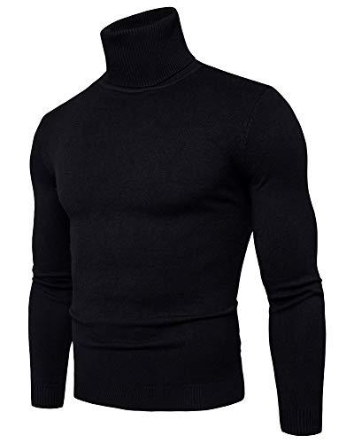 Chandails Maille Hiver Col Chaud Homme Noir Aden Sweater Manches En Roulé Classique Pull Longues 7xACqU