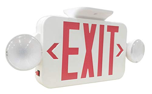 LIT-PaTH LED Combo Emergency EXIT Sign with 2 Adjustable Head Lights and Back Up Batteries- US Standard Red Letter Emergency Exit Lighting, UL 924 and CEC Qualified, 120-277 Voltage (1-Pack) (Classic White Exit Signs)