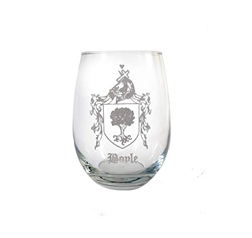 Boyle Family Coat of Arms Clear Stemless Wine Glass 18 oz - Free Personalized Engraving