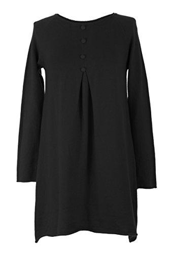 TEXTURE Ladies Women Italian Lagenlook Plain Long Sleeve 4 Button Detail Lana Wool Angora Knit Jumper Tunic Dress One Size Plus UK 12-18 (One Size Plus, Black)