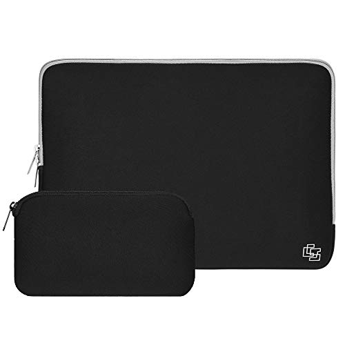 11 Inch Laptop Sleeve Neoprene Bag for MacBook Air Sleeve 10 Inch Water-Proof Tablet Sleeve Bag Case Laptop Sleeve 11 Inch | Waterproof Computer Case with Small Electronics Organizer (Black/Grey) ()