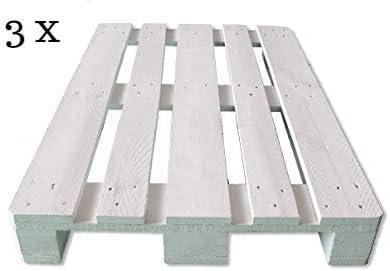 Dydaya 3 x Pallets Europeos de 80x120 de Madera Lijados y Pintados de Blanco para Muebles y Decoración & Bricolaje & Artesania & Manualidades (Blanco, ...