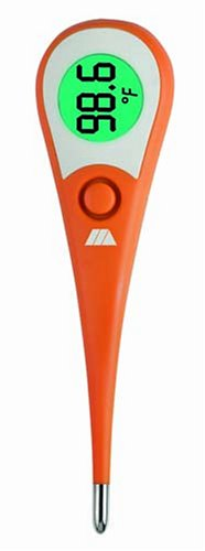 MABIS Large Glow-in-the-Dark 8-Second Waterproof Digital Thermometer with Flexible Tip for Fast Oral, Rectal or Underarm Temperature Readings for Babies, Children and Adults, Orange