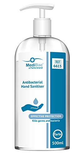 MediBac Antibacterial Hand Sanitiser Gel | 75% Alcohol | Pump Bottle | 500ml