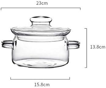 YWSZJ Marmite En Verre, Double Conception De L'oreille, Le Poids Léger, De Grande Capacité, L'isolation Thermique Et Contre Les Brûlures