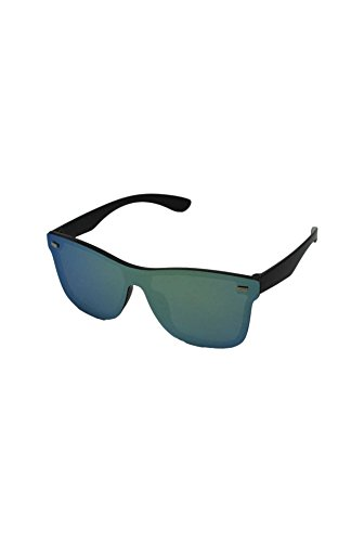 Finecy Lens In soleil Homme taille Mirrored Lunettes Black de Frame with Green unique rrqwpag